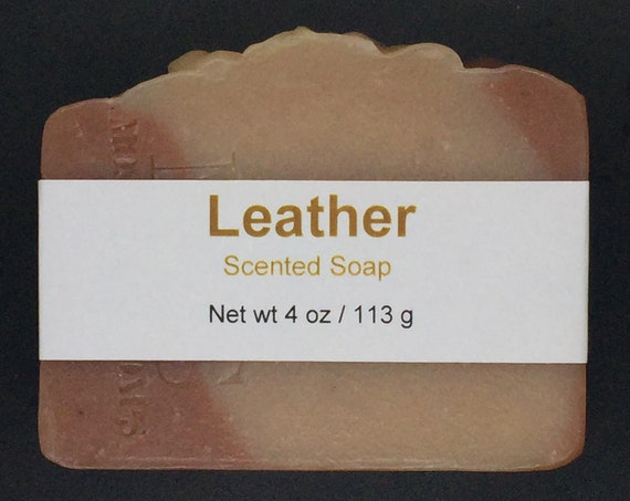 Leather Scented Cold Process Soap with Shea Butter, 4 oz / 113 g bar