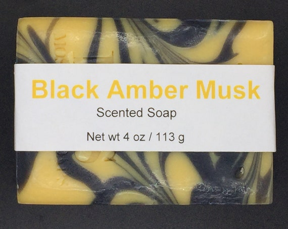 Black Amber Musk Scented Cold Process Soap with Shea Butter, 4 oz / 113 g bar