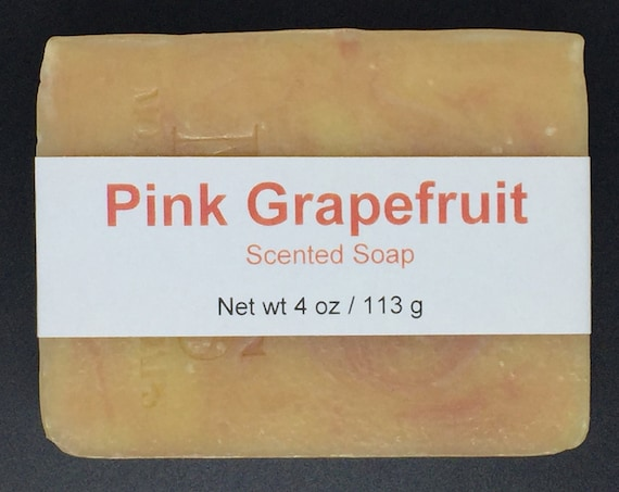 Pink Grapefruit Scented Cold Process Soap with Shea Butter, 4 oz / 113 g bar