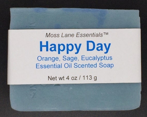 Happy Day Essential Oil Scented Cold Process Soap with Shea Butter--Clary Sage, Eucalyptus, Orange and Bergamot, 4 oz / 113 g bar