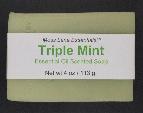 Triple Mint Essential Oil Scented Cold Process Soap with Shea Butter, 4 oz / 113 g bar
