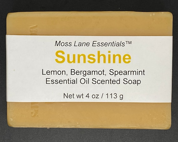Sunshine Essential Oil Scented Cold Process Soap with Shea Butter, 4 oz / 113 g bar