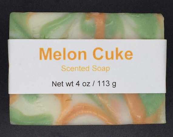 Melon and Cucumber Scented Cold Process Soap with Shea Butter, 4 oz / 113 g bar