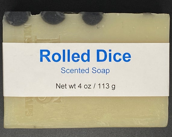 Rolled Dice Scented Cold Process Soap with Shea Butter for Men, 4 oz / 113 g bar