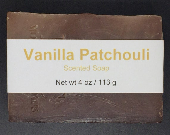 Vanilla and Patchouli Scented Cold Process Soap with Shea Butter, 4 oz / 113 g bar