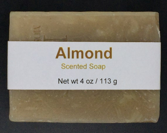 Almond Scented Cold Process Soap with Shea Butter, 4 oz / 113 g bar
