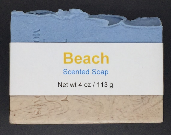 Beach Scented Cold Process Soap with Shea Butter, 4 oz / 113 g bar