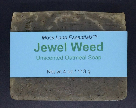 Jewel Weed Unscented Cold Process Soap with Oatmeal and Shea Butter, 4 oz / 113 g bar