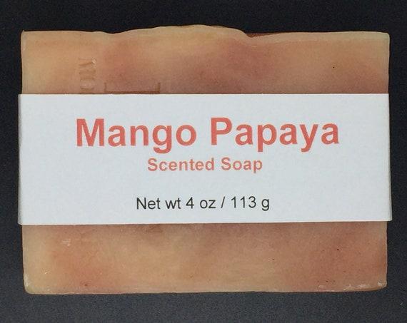 Mango Papaya Scented Cold Process Soap with Shea Butter, 4 oz / 113 g bar