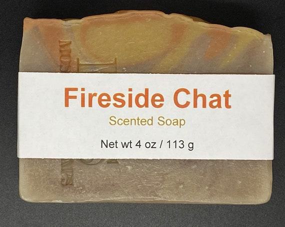 Fireside Chat--Whiskey and Campfire Scented Cold Process Soap with Shea Butter, 4 oz / 113 g bar
