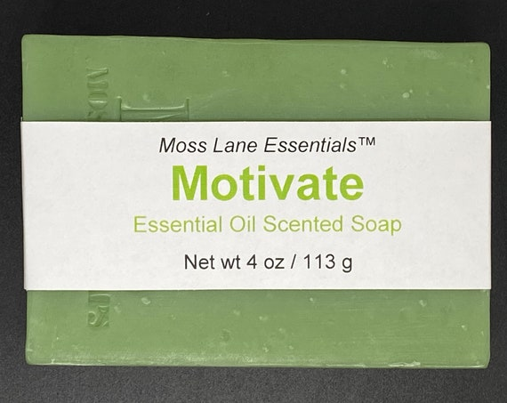 Motivate Essential Oil Scented Cold Process Soap with Shea Butter, 4 oz / 113 g bar