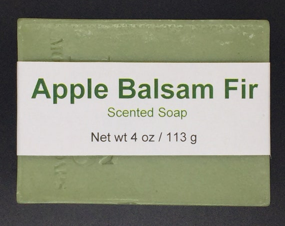 Apple Balsam Fir Scented Cold Process Soap with Shea Butter, 4 oz / 113 g bar