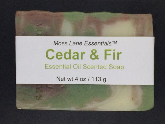 Balsam Fir and Cedarwood Essential Oil Scented Cold Process Soap with Shea Butter, 4 oz / 113 g bar