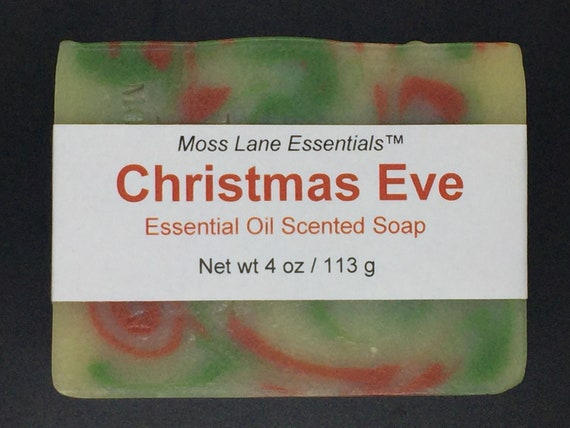 Christmas Eve--Evergreen, Orange and Spice Essential Oil Scented Cold Process Soap with Shea Butter, 4 oz / 113 g bar