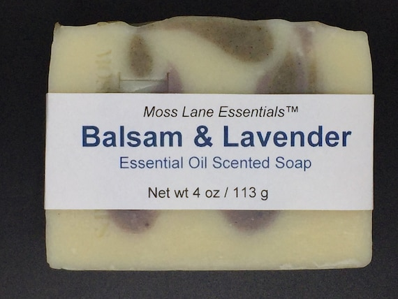 Balsam Fir and Lavender Essential Oil Scented Cold Process Soap with Shea Butter, 4 oz / 113 g bar