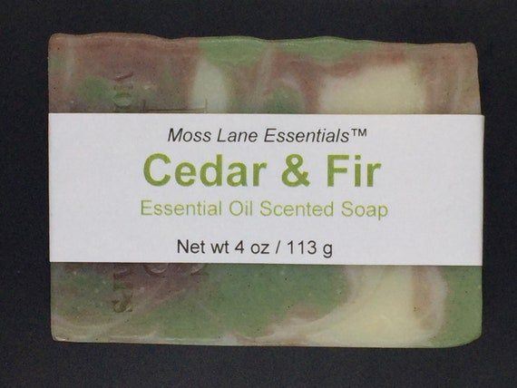 Cedarwood and Balsam Fir Essential Oil Scented Cold Process Soap with Shea Butter, 4 oz / 113 g bar
