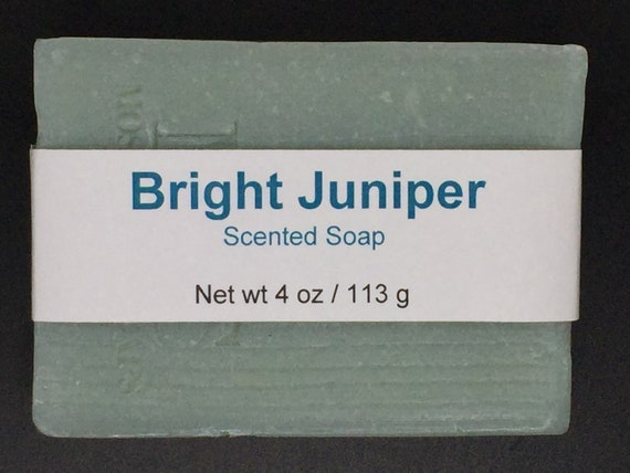 Bright Juniper Scented Cold Process Soap with Shea Butter, 4 oz / 113 g bar