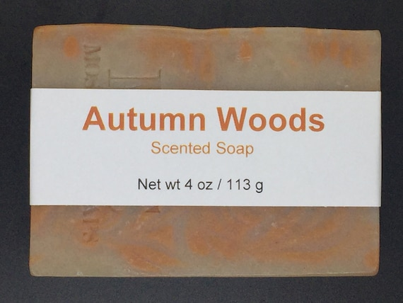 Autumn Woods Scented Cold Process Soap with Shea Butter, 4 oz / 113 g bar