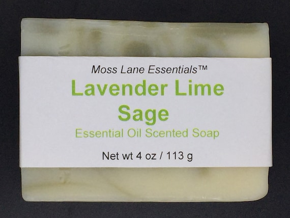 Lavender Lime Sage Essential Oil Scented Cold Process Soap with Shea Butter, 4 oz / 113 g bar