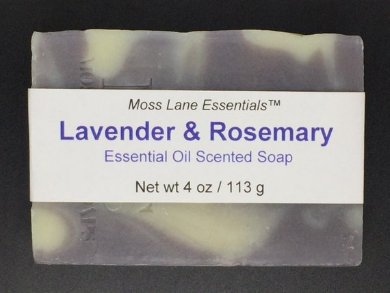 Lavender and Rosemary Essential Oil Scented Cold Process Soap with Shea Butter, 4 oz / 113 g bar