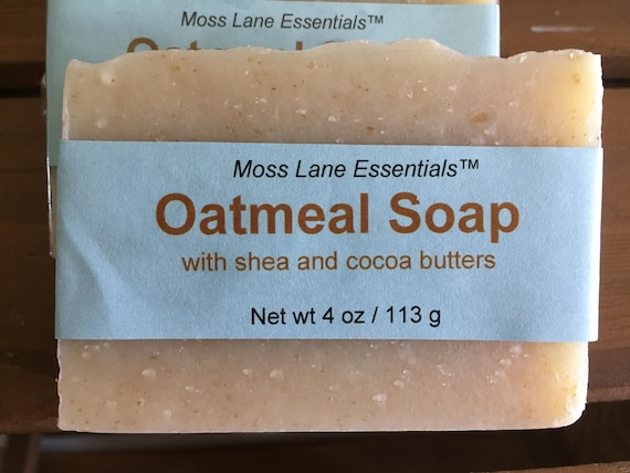Unscented Oatmeal Cold Process Soap with Shea and Cocoa Butters, 4 oz / 113 g bar