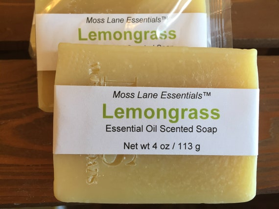 Lemongrass Essential Oil Scented Cold Process Soap with Shea Butter, 4 oz / 113 g bar
