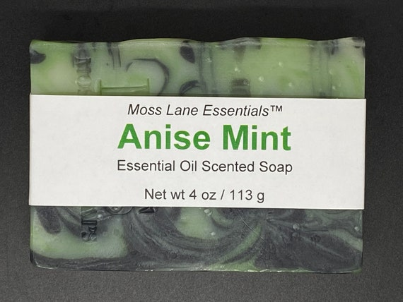 Anise and Spearmint Essential Oil Cold Process Soap with Shea Butter, 4 oz / 113 g bar