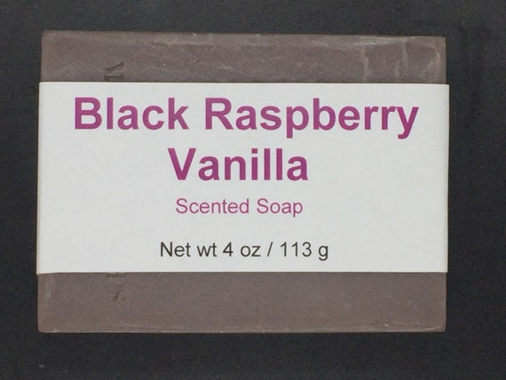 Black Raspberry Vanilla Scented Cold Process Soap with Shea Butter, 4 oz / 113 g bar