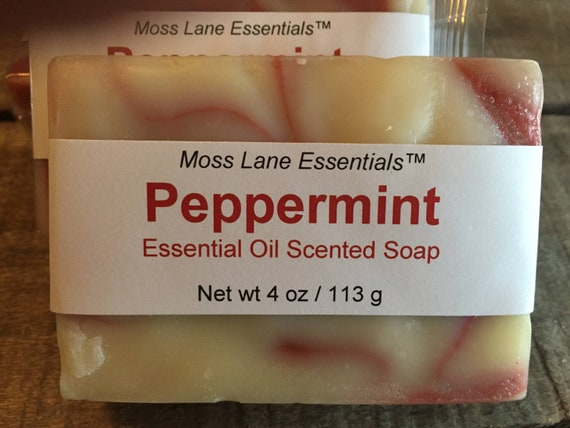 Peppermint Essential Oil Scented Cold Process Soap with Shea Butter, 4 oz / 113 g bar