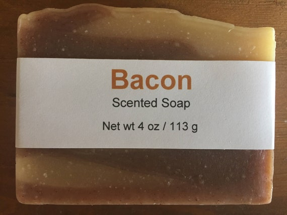 Bacon Scented Novelty Cold Process Soap with Shea Butter, 4 oz / 113 g bar