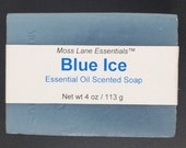 Blue Ice Peppermint Eucalyptus Essential Oil Scented Cold Process Soap with Shea Butter and Menthol, 4 oz 113 g bar