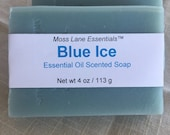 Minty, Refreshing Blue Ice Essential Oil Scented Cold Process Soap with Shea Butter