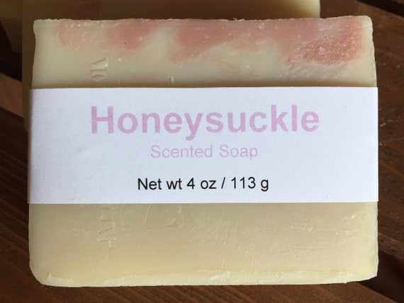 Honeysuckle Scented Cold Process Soap with Shea Butter, 4 oz / 113 g bar