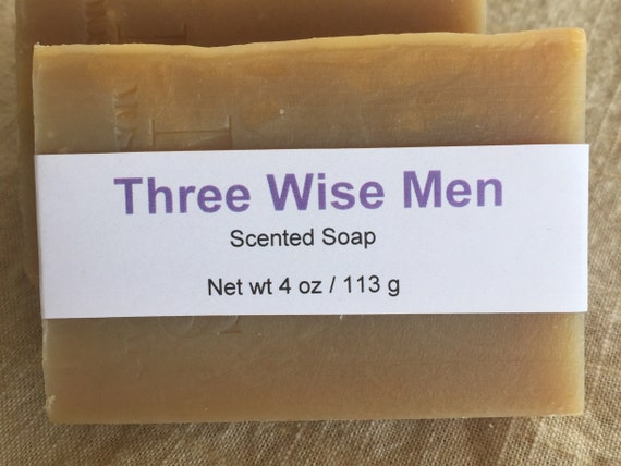 Three Wise Men—Frankincense and Myrrh Scented Cold Process Soap with Shea Butter, 4 oz / 113 g bar