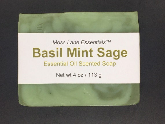 Basil, Mint and Sage Essential Oil Scented Cold Process Soap with Shea Butter, 4 oz / 113 g bar