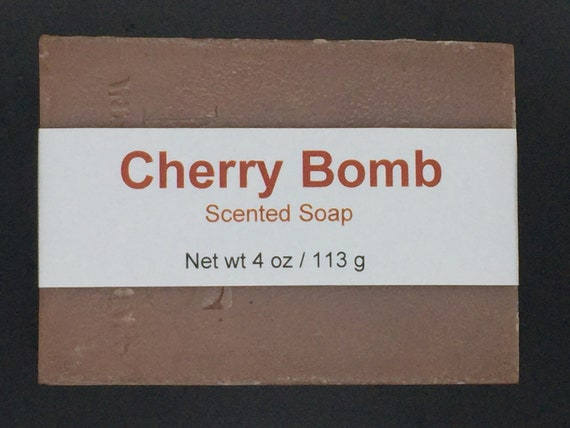 Cherry Bomb Scented Cold Process Soap with Shea Butter, 4 oz / 113 g bar
