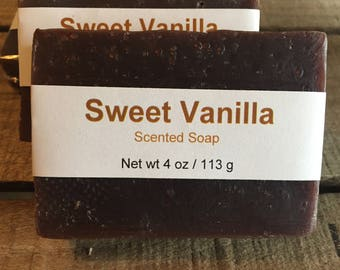 Sweet Vanilla Scented Cold Process Soap with Shea Butter