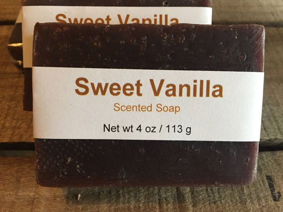 Sweet Vanilla Scented Cold Process Soap with Shea Butter with Shea Butter, 4 oz / 113 g bar