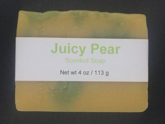 Juicy Pear Scented Cold Process Soap with Shea Butter, 4 oz / 113 g bar