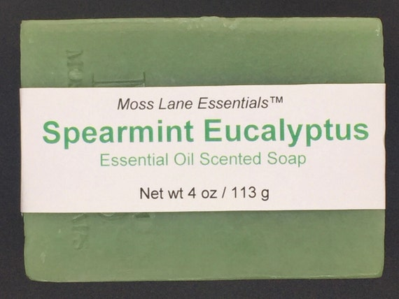 Spearmint and Eucalyptus Essential Oil Scented Cold Process Soap, 4 oz / 113 g bar