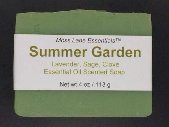 Summer Garden--Clary Sage, Lavender, Clove Essential Oil Scented Cold Process Soap with Shea Butter