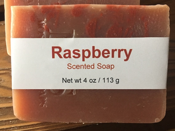 Red Raspberry Scented Cold Process Soap with Shea Butter, 4 oz / 113 g bar