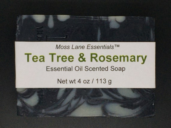 Tea Tree and Rosemary Essential Oil Scented Activated Charcoal Cold Process Soap with Shea Butter, 4 oz / 113 g bar