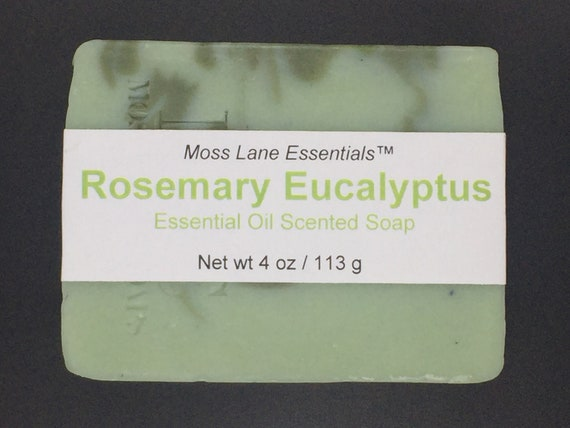 Rosemary Eucalyptus Essential Oil Scented Cold Process Soap with Shea Butter, 4 oz / 113 g bar