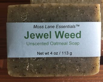 Jewel Weed Unscented Cold Process Soap with Colloidal Oatmeal and Shea Butter