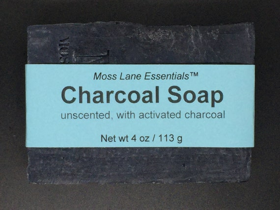 Activated Charcoal Unscented Cold Process Soap with Shea Butter, 4 oz / 113 g bar