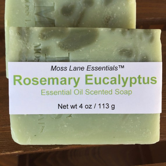 Rosemary Eucalyptus Essential Oil Scented Cold Process Soap with Shea Butter
