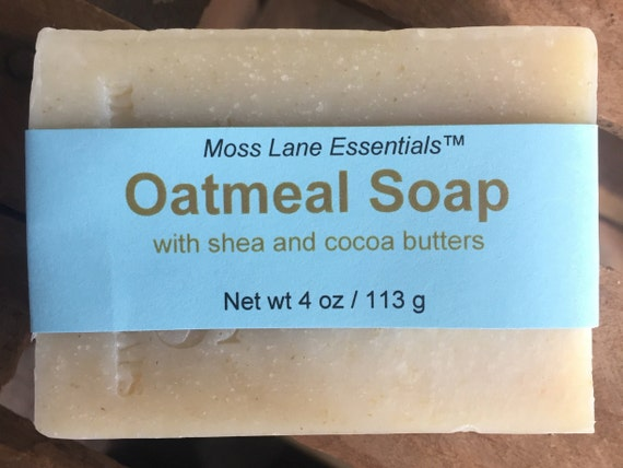 DISCOUNTED--Unscented Oatmeal Cold Process Soap with Shea and Cocoa Butters, 4 oz / 113 g bar--Slightly Imperfect