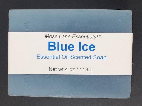Blue Ice--Peppermint & Eucalyptus Essential Oil Scented Cold Process Soap with Shea Butter and Menthol, 4 oz / 113 g bar
