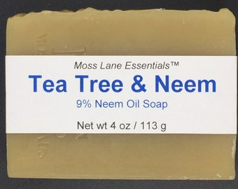 Tea Tree and Neem Oil Cold Process Soap, 4 oz / 113 g bar